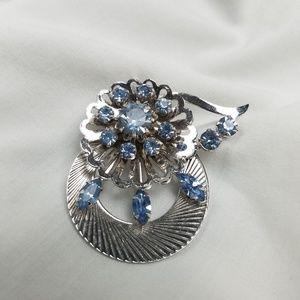 Vintage coro blue rhinestone brooch pin